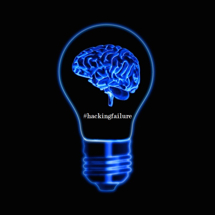 Light Bulb Sign With Brain Over Black Background